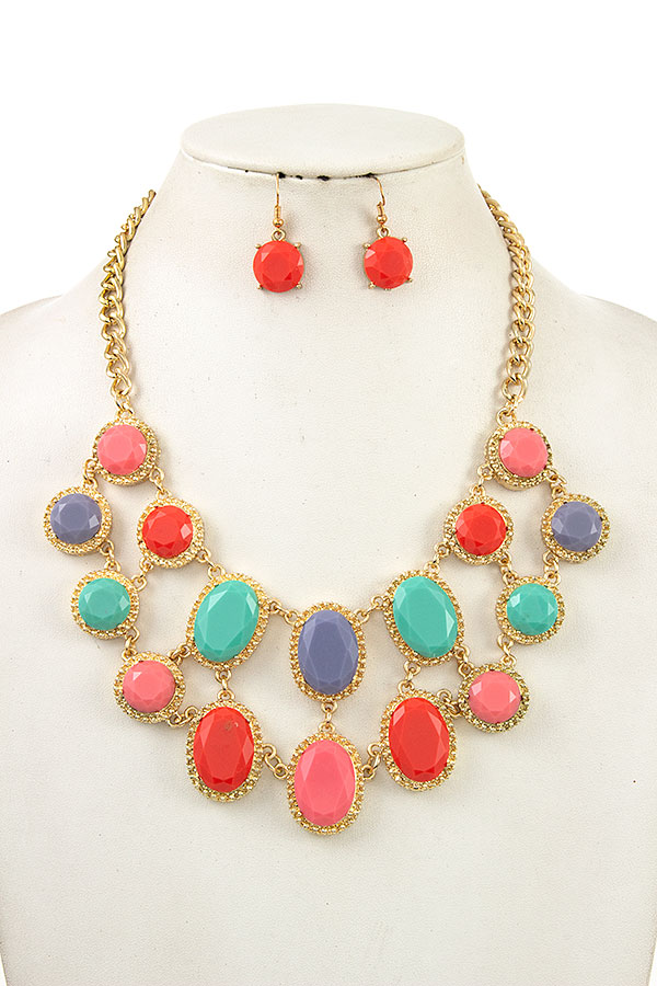 Faceted Oval Round Linked Necklace Set