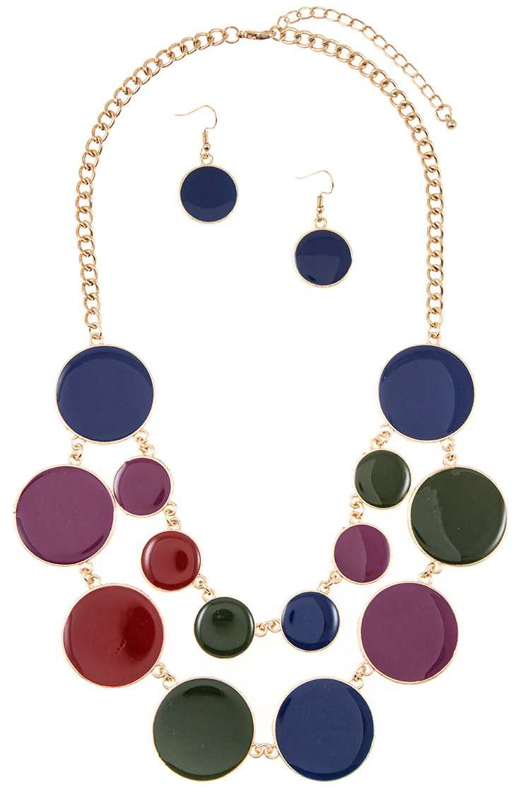 Flat Link Disk Double Row Bib Necklace Set