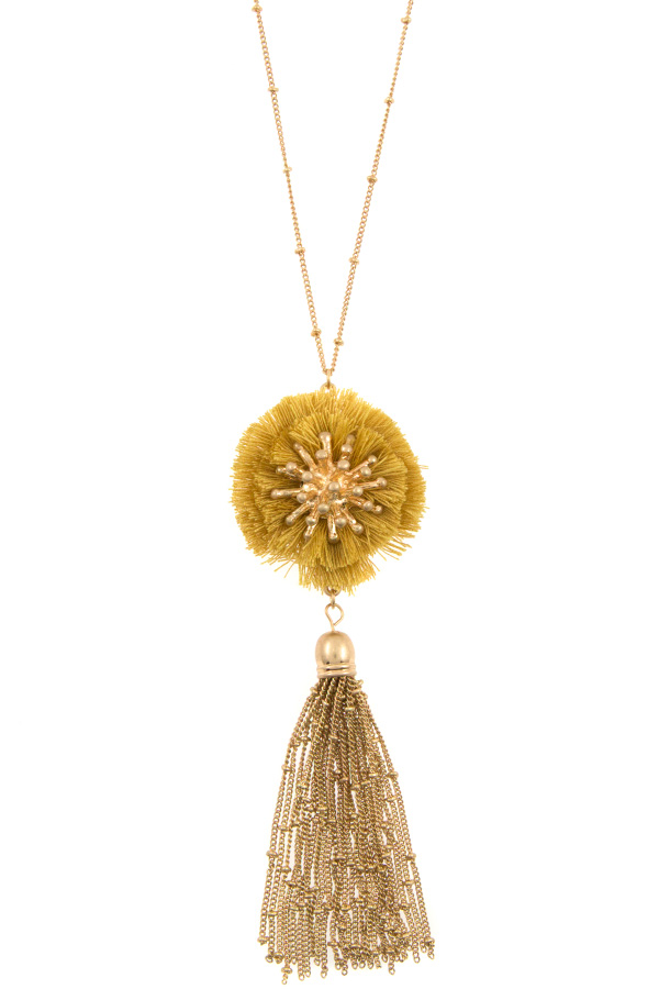 DROP FRINGE BALL PENDANT CHAIN TASSEL LONG NECKLACE