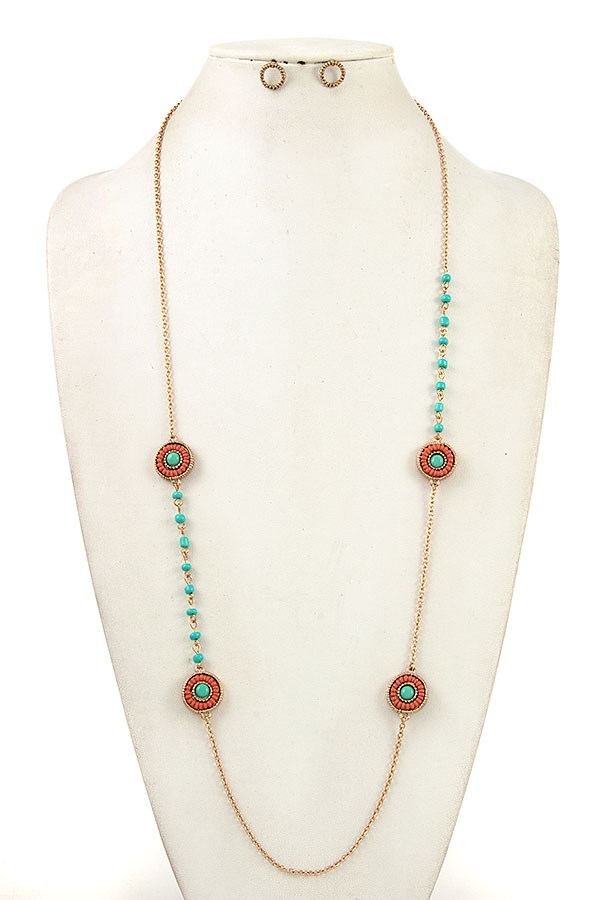 Elongated Round Bead Station Necklace Set