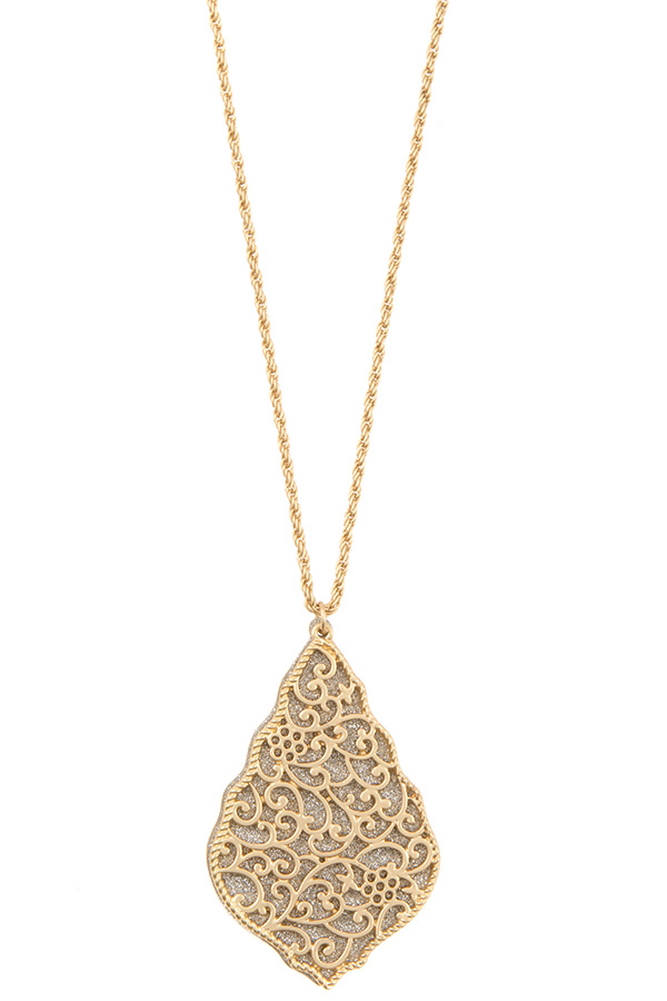 GLITTER AND FILIGREE LINK DOUBLE PENDANT NECKLACE SET