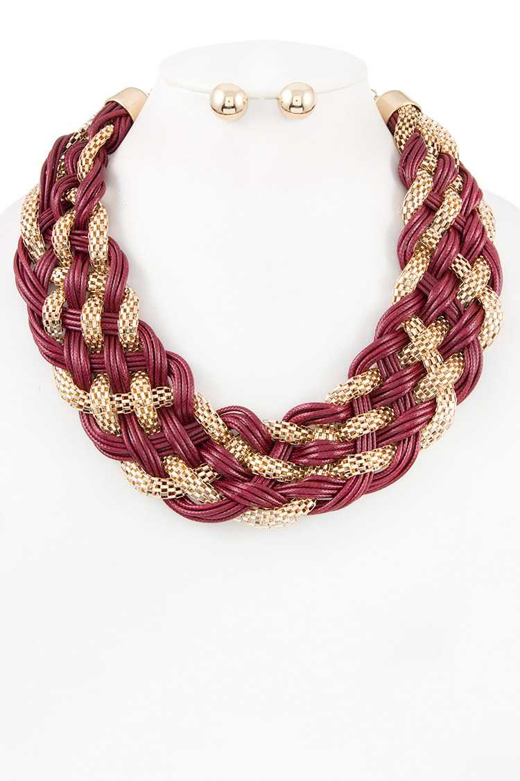 Mesh Chain and Multi Cord Braid Chunky Necklace Set