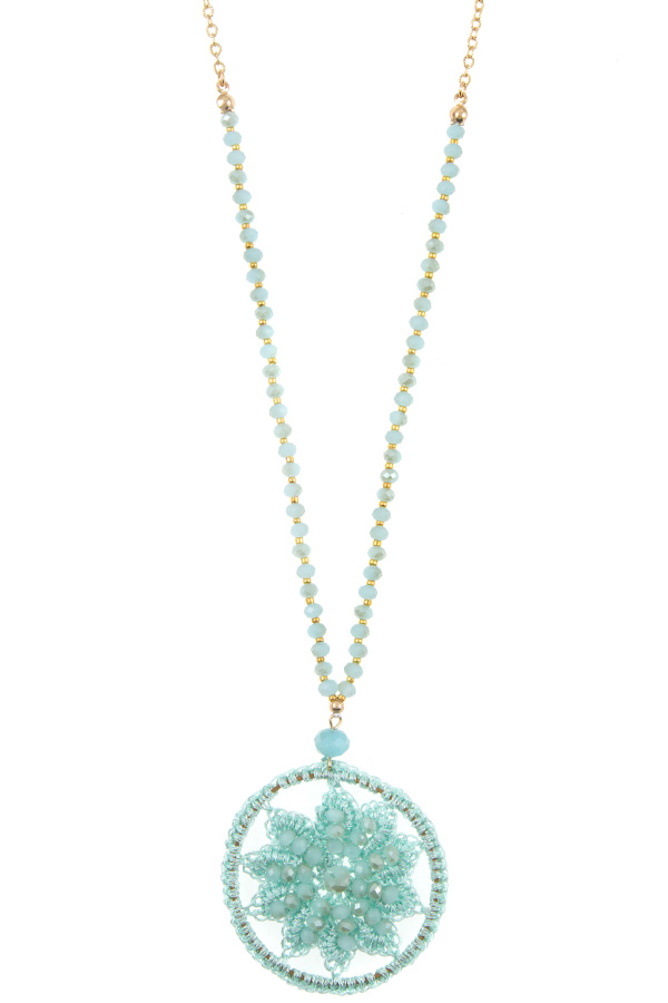 Round Floral Thread Bead Accent Pendant Necklace