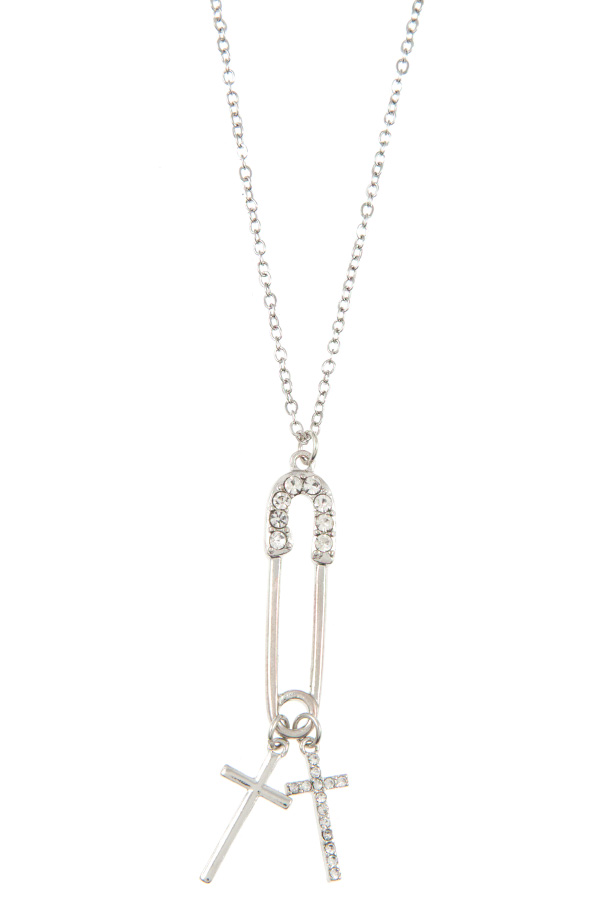 CLIP WITH CROSS DANGLING PENDANT NECKLACE SET
