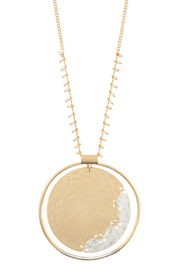 WIRED ETCHED LARGE DISK LONG NECKLACE SET
