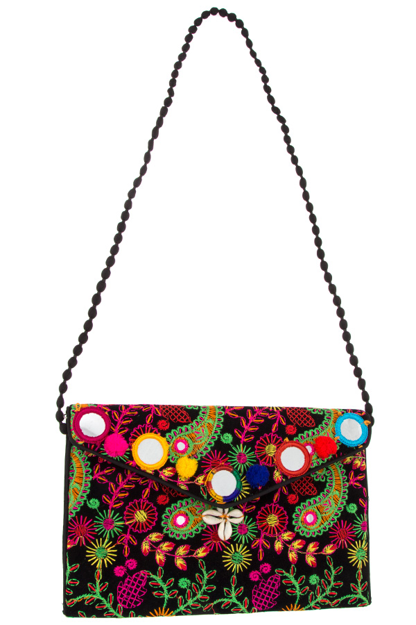 PAISLEY MIX COLOR POM POM ACCENT CLUTCH BAG