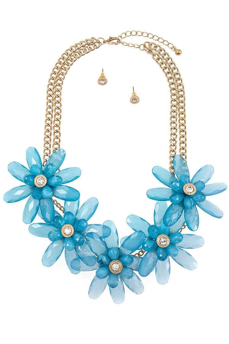 Acrylic Flower Link Double Chain Necklace Set