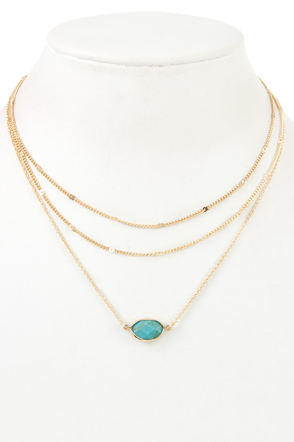 LAYERED CHAIN FACETED GEM PENDANT NECKLACE
