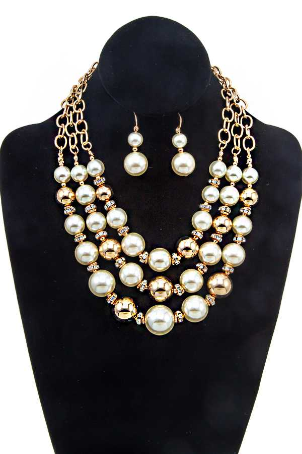 LAYERED PEARL BIB NECKLACE SET