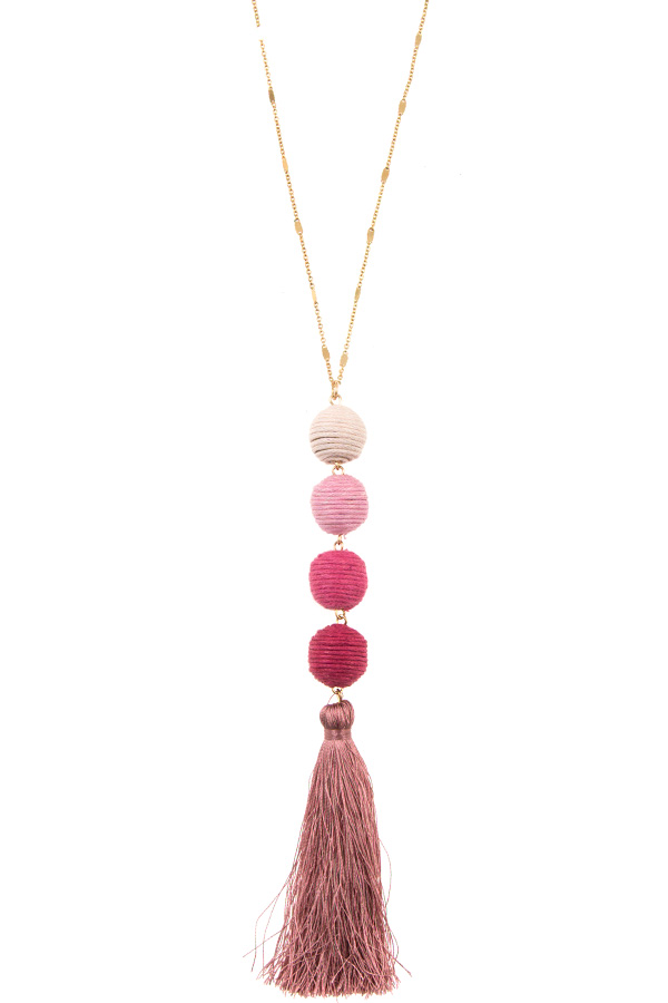 Thread Ball Link Tassel Pendant Necklace Set