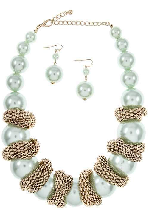 Chunky Pearl Link with Mesh Chain Accent Collar Bib Necklace Set