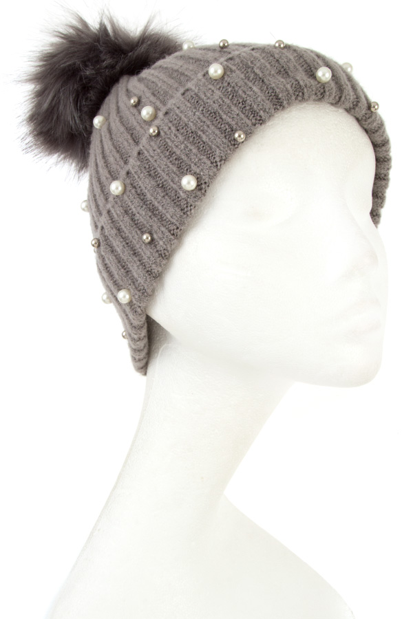 PEARL AND BEAD ACCENT POM POM BEANIE
