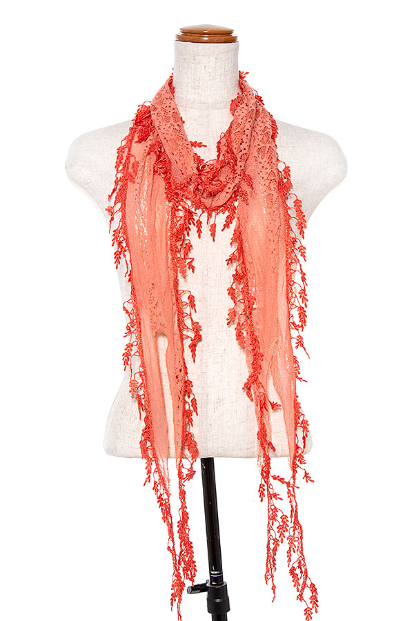 THIN LACE DANGLE TRIM SCARF