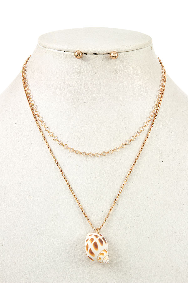 DOUBLE CHAIN SHELL PENDANT NECKLACE SET