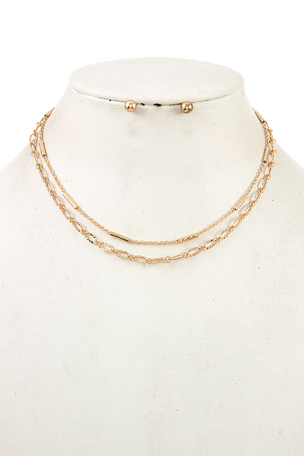DOUBLE MIX CHAIN COLLAR NECKLACE SET