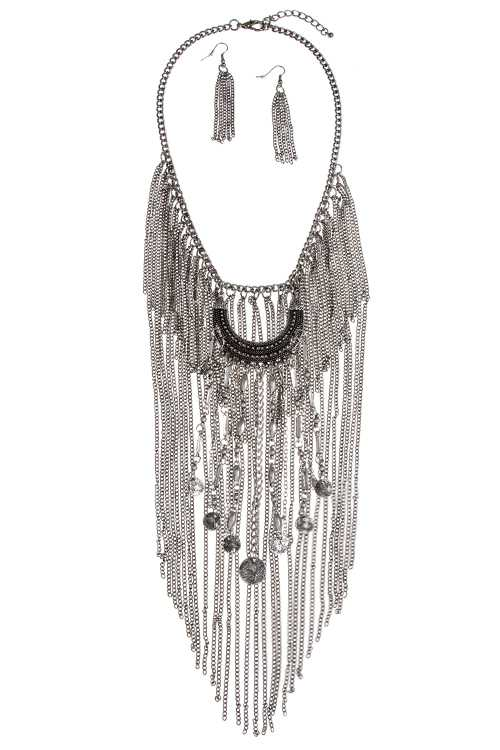 OPAQUE MULTI CHAIN DETAILED FRINGE COIN DANGLE ORNATE NECKLACE S