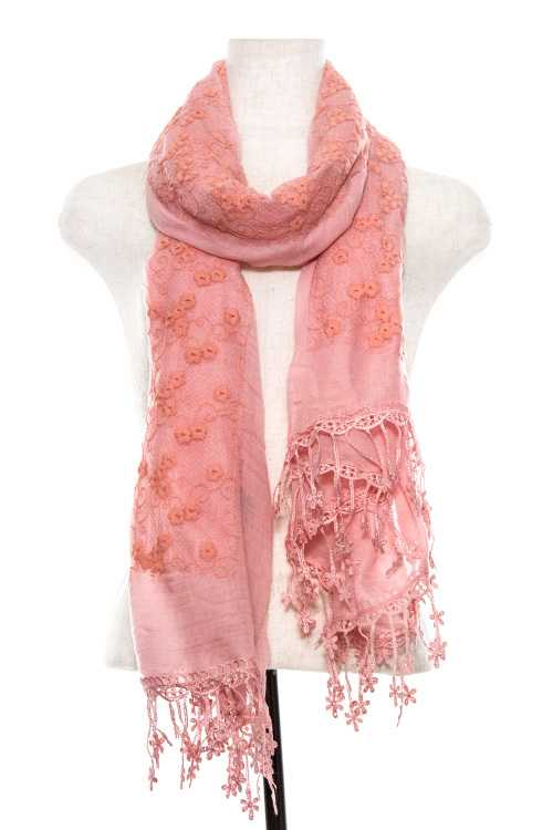 Embroidered Flower Lace Crochet End Oblong Scarf