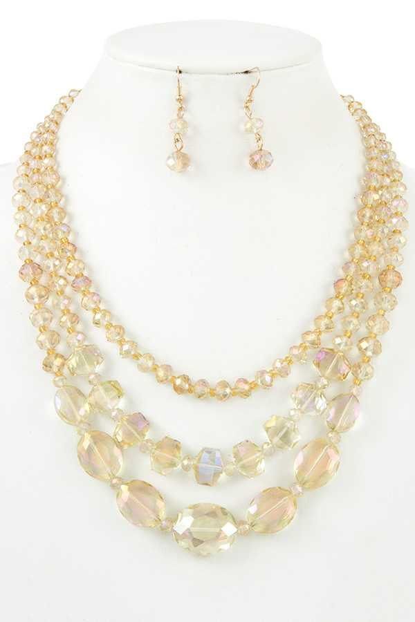 Glass Beaded Multi Layered Accent Necklace Set