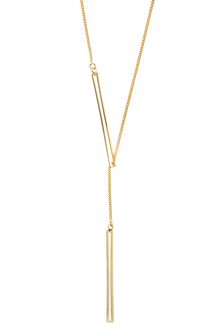 Double Cut Bar Lariat Long Necklace
