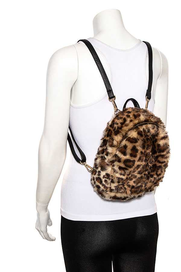 FAUX FUR MIX TONE BACKPACK