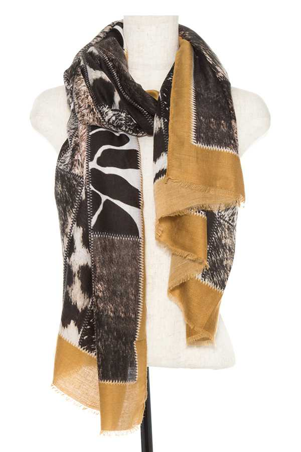 MIX PRINT OBLONG SCARF