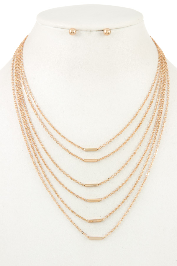 MULTI ROW MINI BAR ACCENT NECKLACE SET