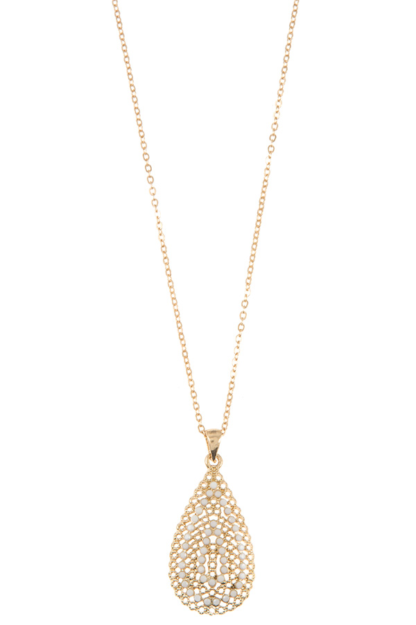 BEAD TEARDROP PAVE NECKLACE