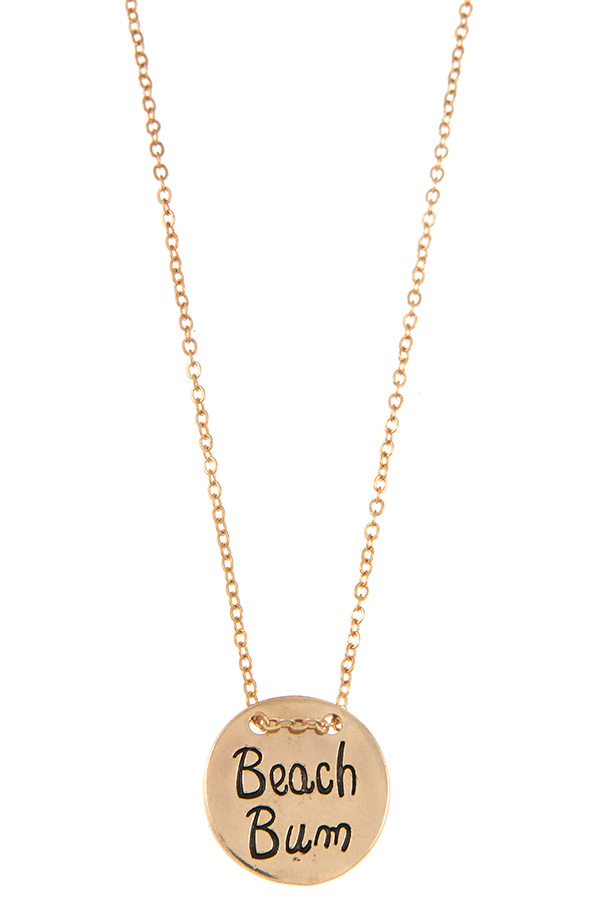 BEACH BUM DISK PENDANT NECKLACE
