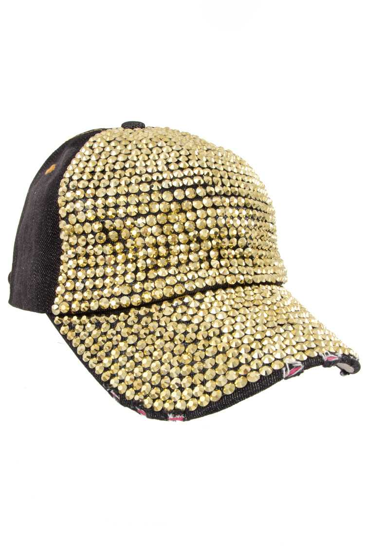 Distressed Denim Rhinestone Cap