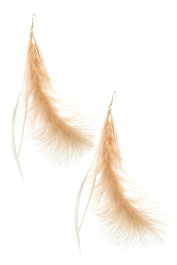 OBLONG FEATHER LIKE FASHION EARRING