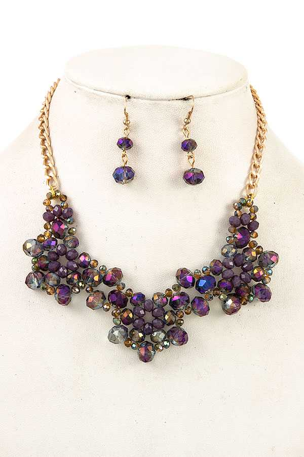 FACETED GLASS BEAD BIB NECKLACE SET