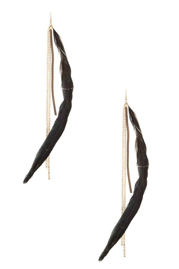 OBLONG FEATHER AND CHAIN FASHION EARRING