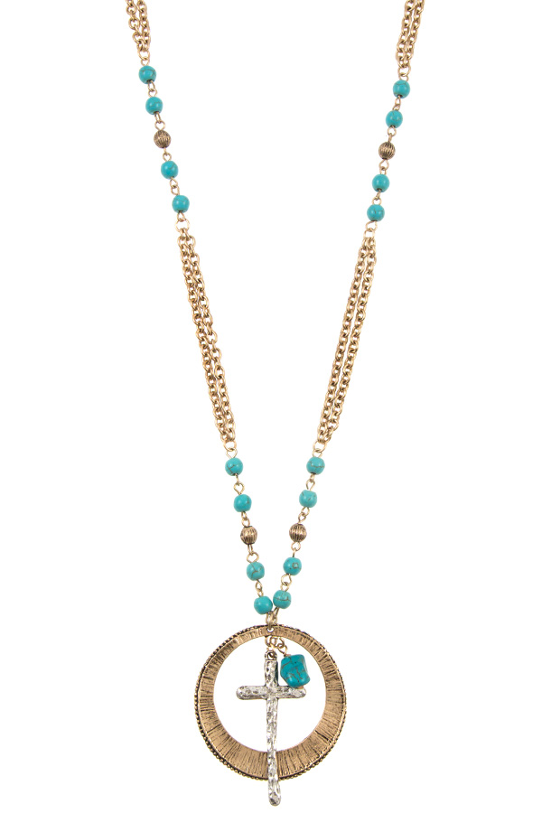 Gem Bead Cross Pendant Chain Necklace