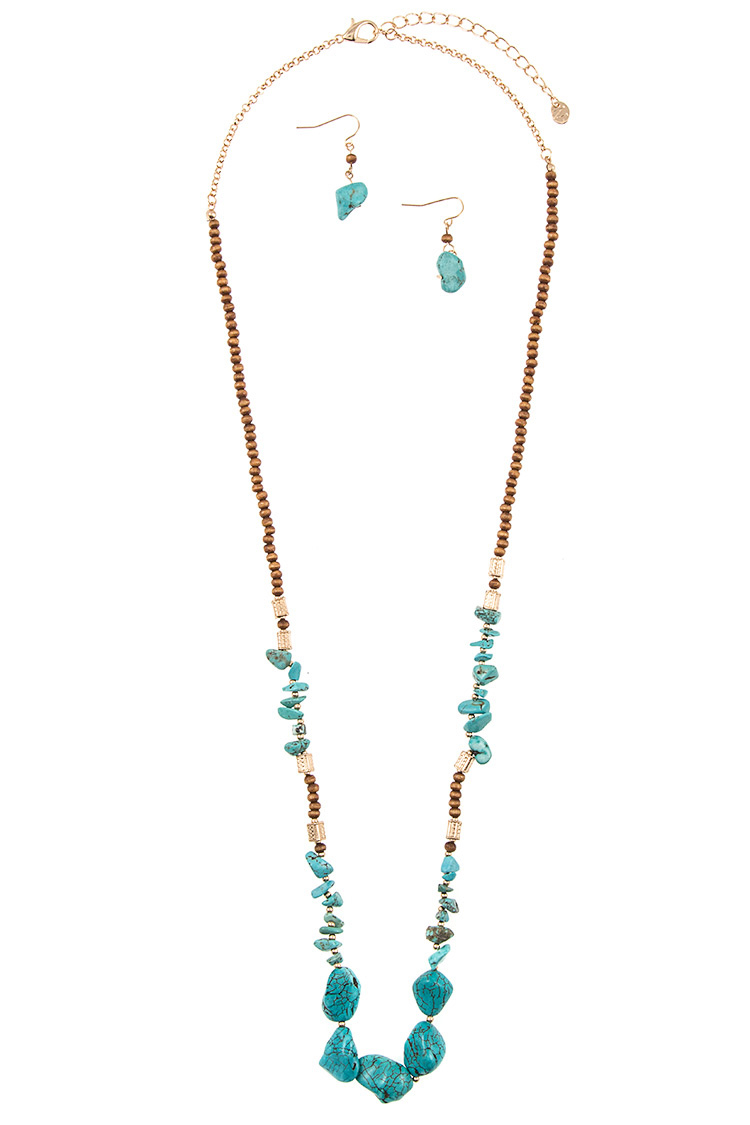 Chipped Gemstone Accent Wood Bead Long Necklace Set