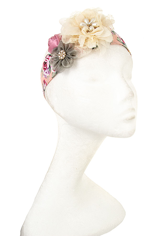 Flower Print with Flowers Accent Hair Band