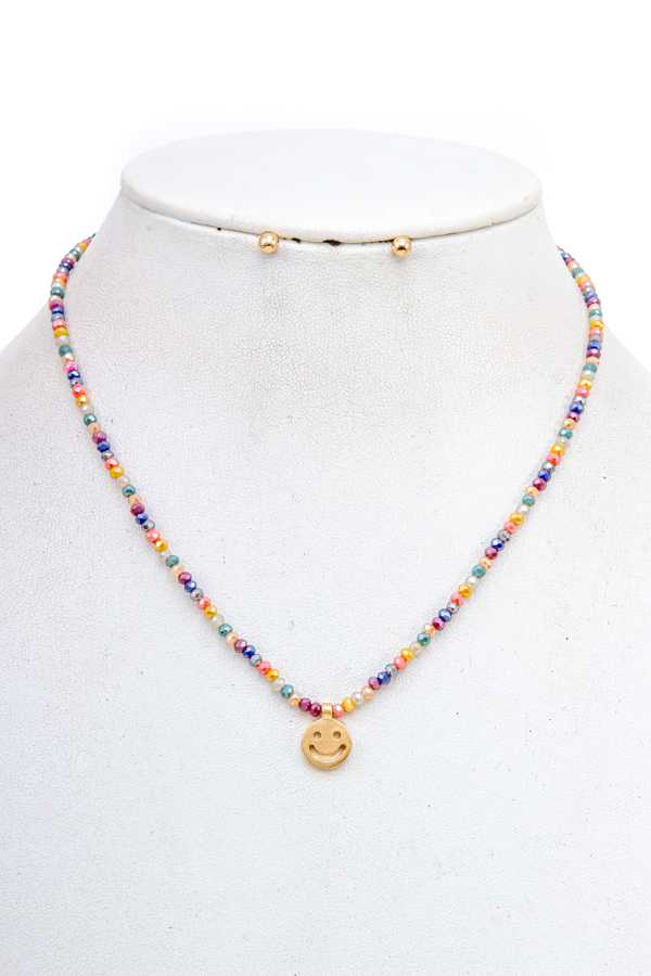 SMILE PENDANT BEAD NECKLACE SET