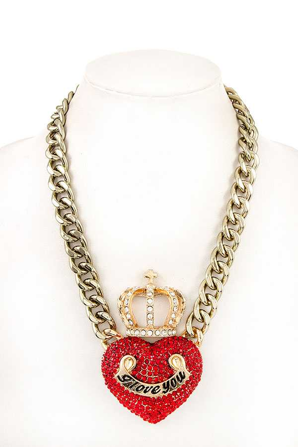 RHINESTONE CROWN HEART PENDANT CHAIN NECKLACE SET