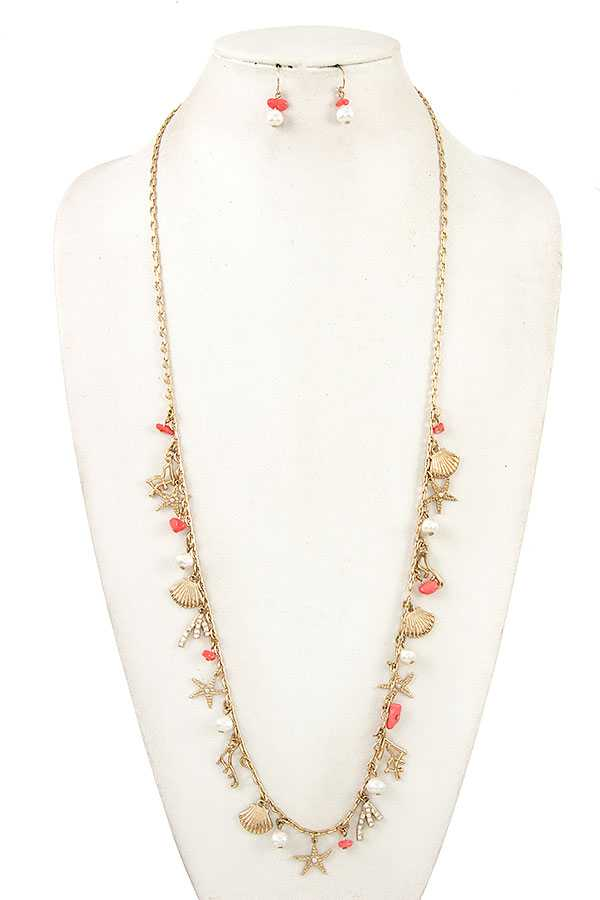 SHELL AND STAR PEDANT LONG NECKLACE SET