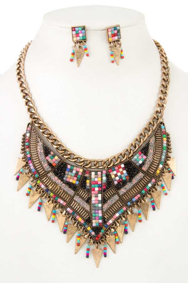 BOHO CHIC BEAD DANGLING METAL BIB NECKLACE SET