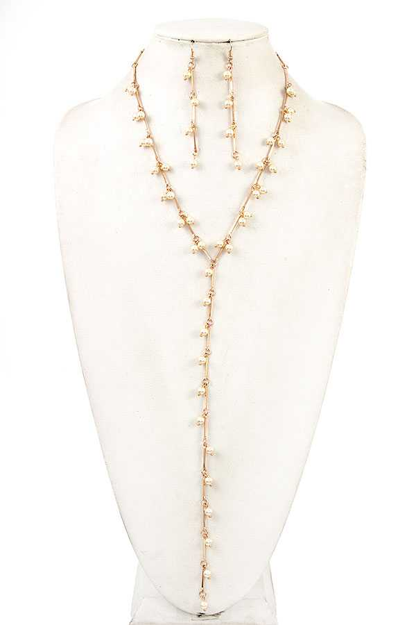 ELONGATED PEARL Y SHAPE NECKLACE SET