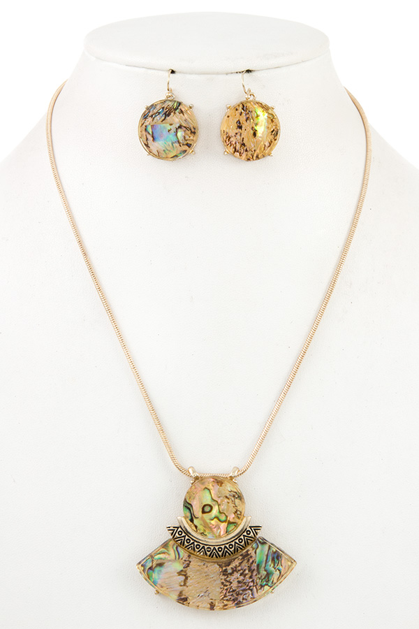 ABALONE PENDANT NECKLACE SET