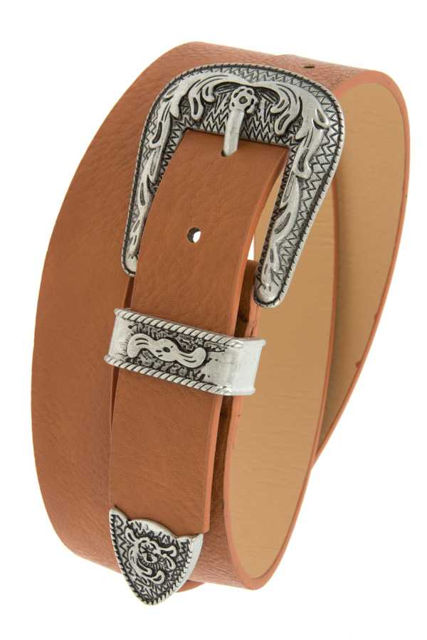 WESTERN BUCKLE DETAILED FAUX LEATHER BELT