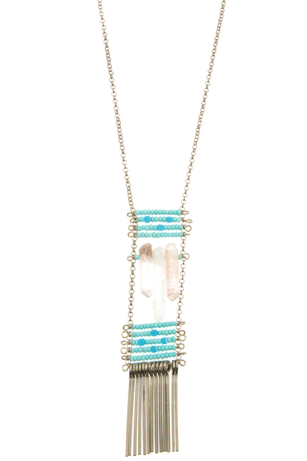 Long Aligned Beaded Stair Case Stone Pendant with Drop Metal Nec