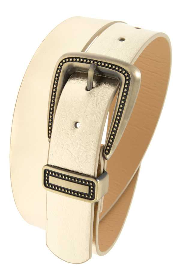 WIDE FAUX LEATHER METAL DOTTED ACCENT BELT