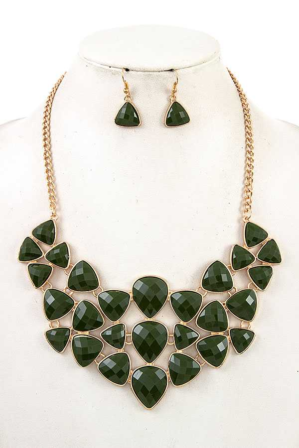 FACETED STONE BIB NECKLACE SET