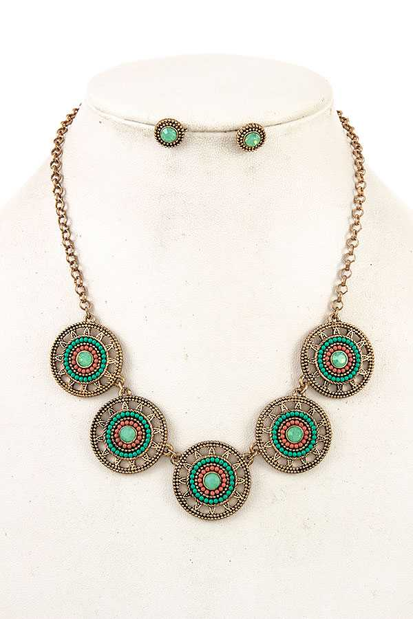 ROUND GEM ORNATE NECKLACE SET