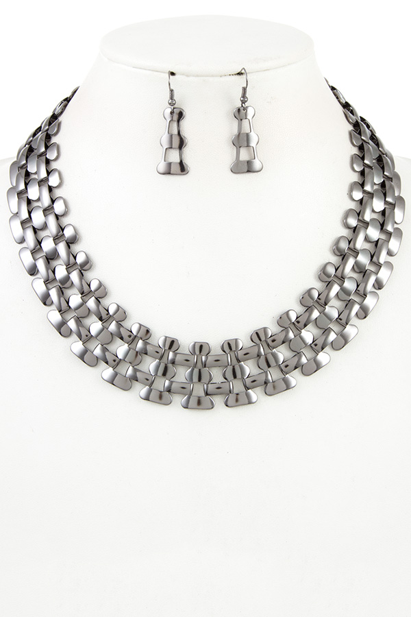 PANTHER CHAIN PATTERN COLLAR NECKLACE SET