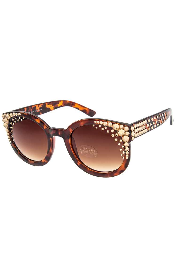 Crystal Gem Framed Fashion Sunglass