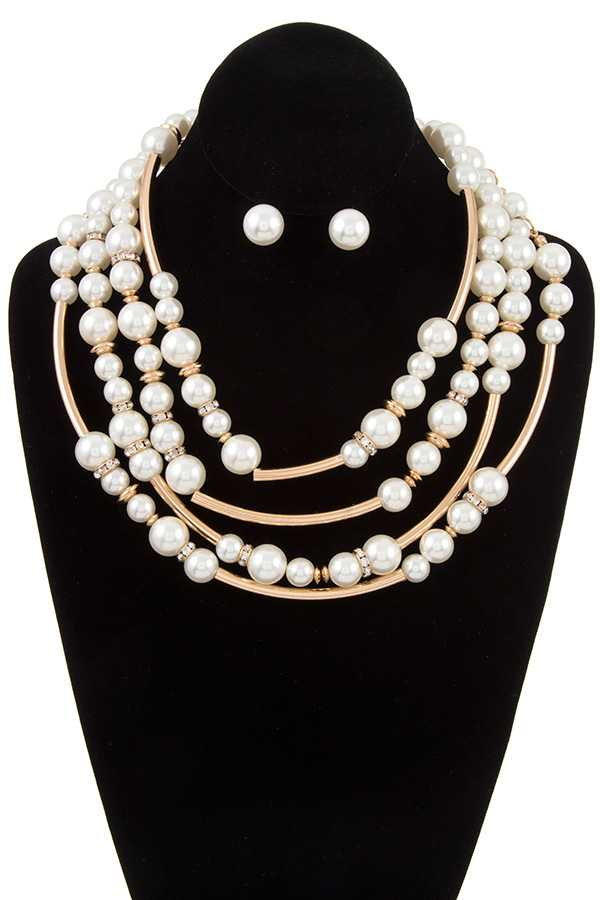 MULTI ROW PEARL BIB NECKLACE SET