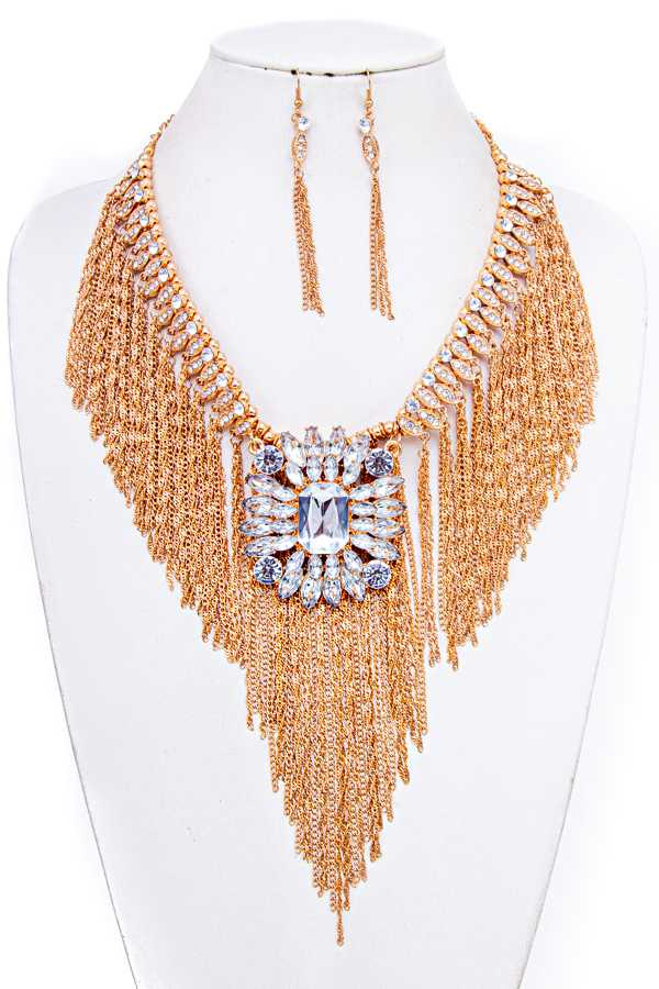 CRYSTAL PEDANT CHAIN TASSEL BIB NECKLACE SET